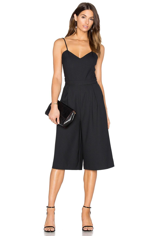 Bobi BLACK Woven Crepe Culottes Jumpsuit in Black