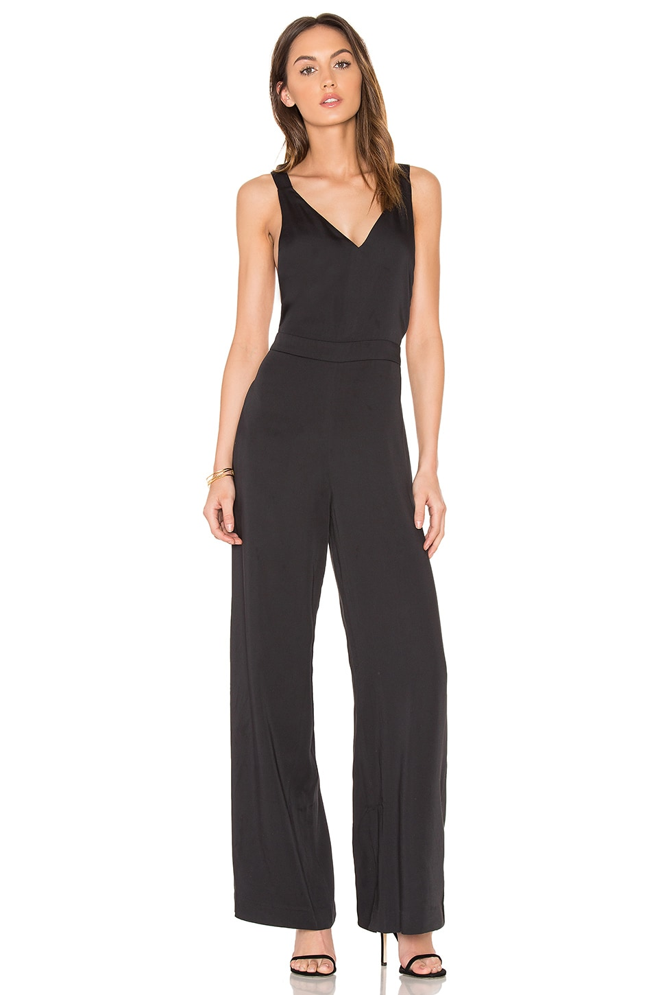 Bobi BLACK Cross Back Jumpsuit in Black