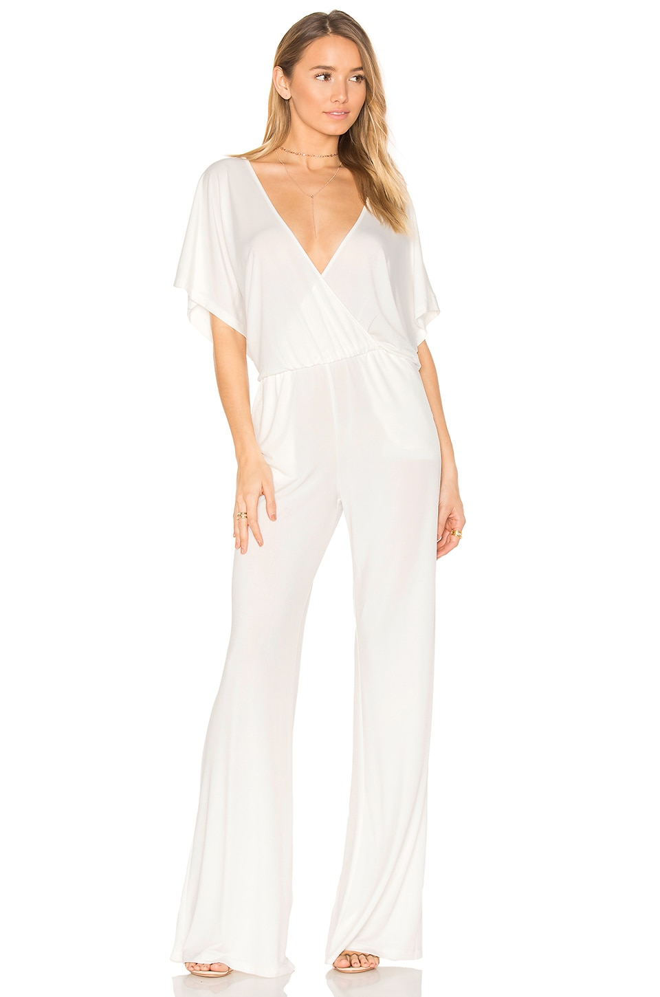 Bobi BLACK Luxe Jersey Drape Front Jumpsuit in White