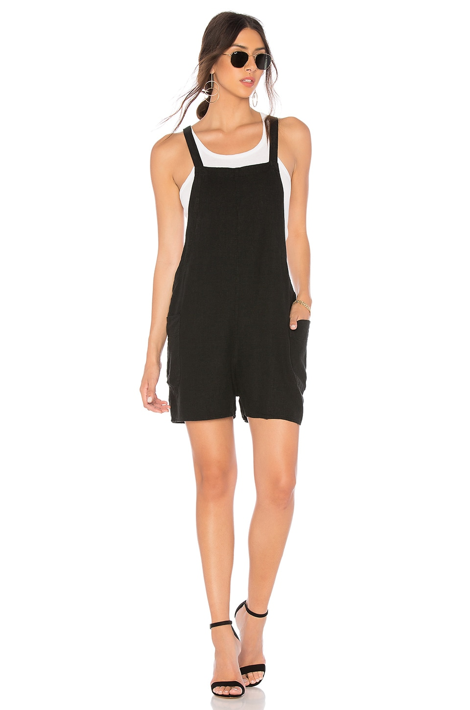 Bobi Seaside Linen Overall in Black