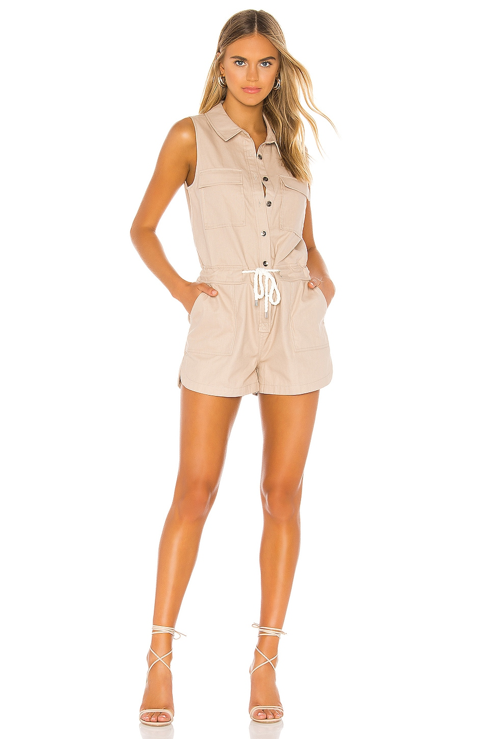 Bobi BLACK Cotton Twill Romper in Taupe
