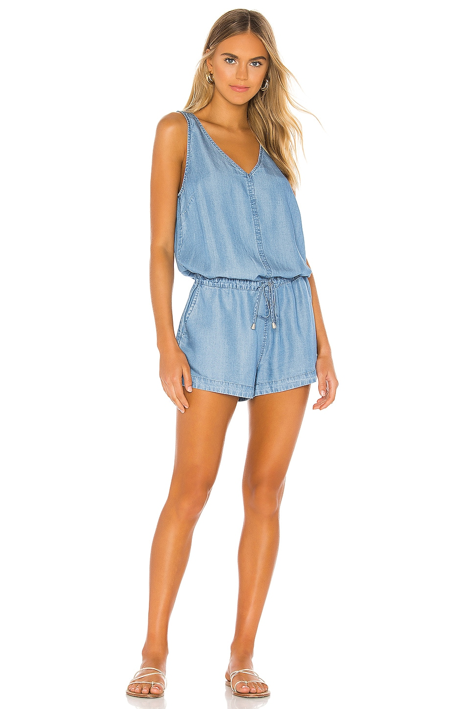 Bobi BLACK Chambray Romper in Light Blue