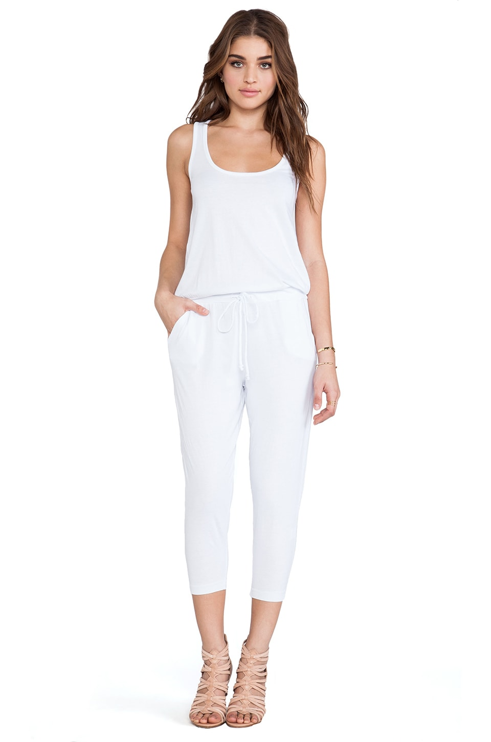 Bobi Supreme Jersey Tank Jumpsuit in White