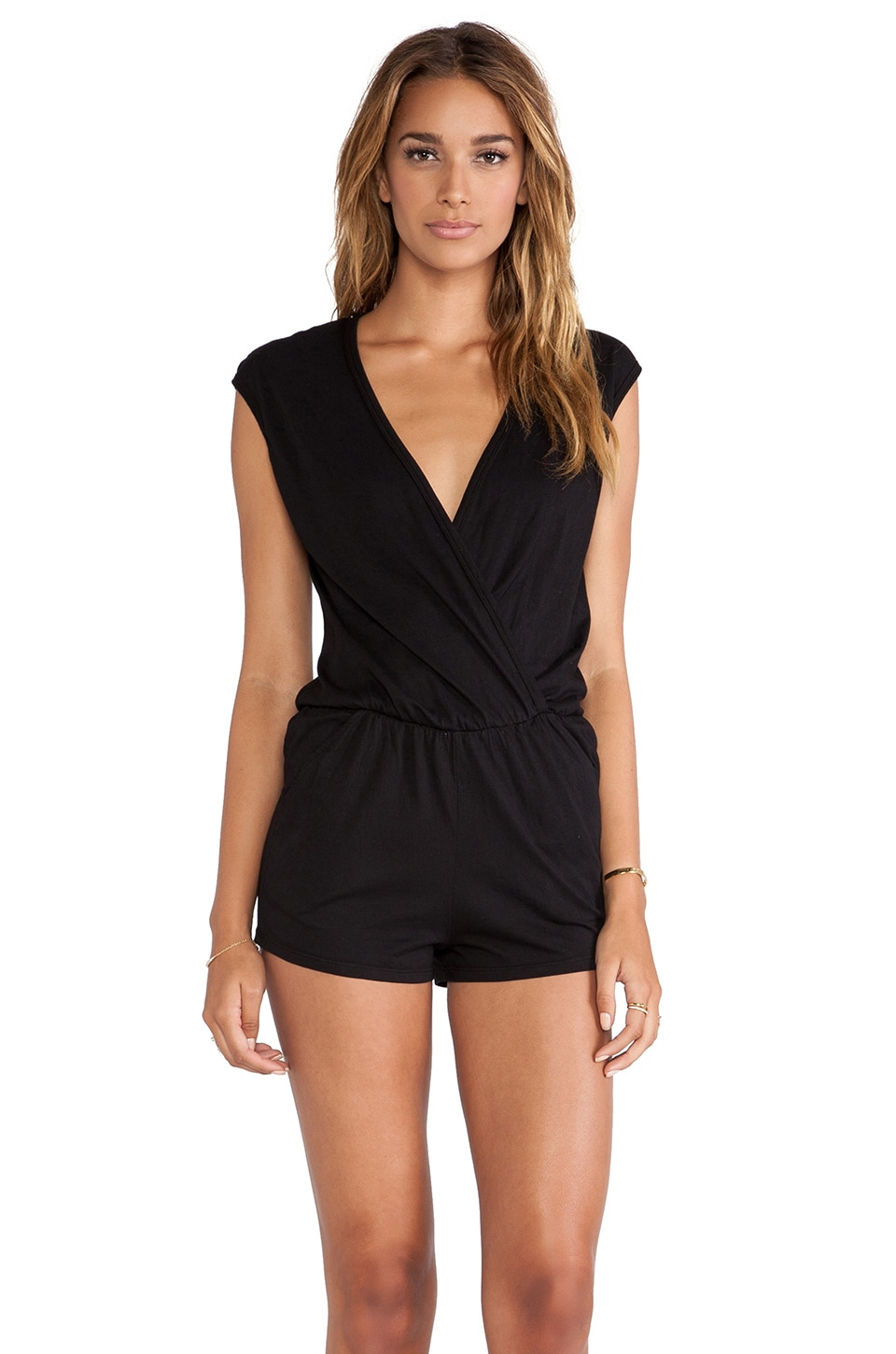 Bobi Supreme Jersey V-Neck Romper in Black