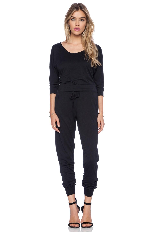 Bobi Modal Jersey Long Sleeve Jumpsuit in Black