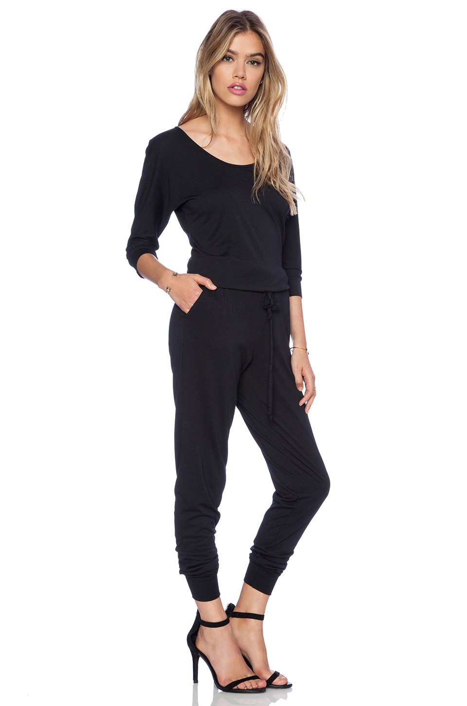 Bobi Modal Jersey Long Sleeve Jumpsuit in Black | REVOLVE