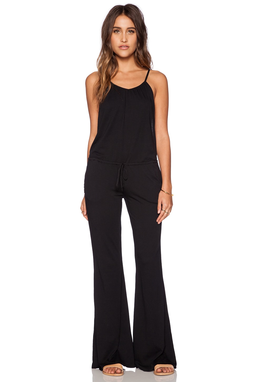 Bobi Modal Jersey Wide Leg Jumpsuit in Black