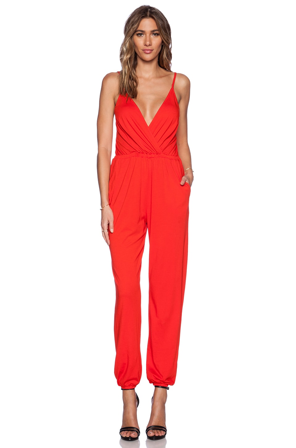 Bobi Modal Jersey Drape Front Jumpsuit in Candy Red