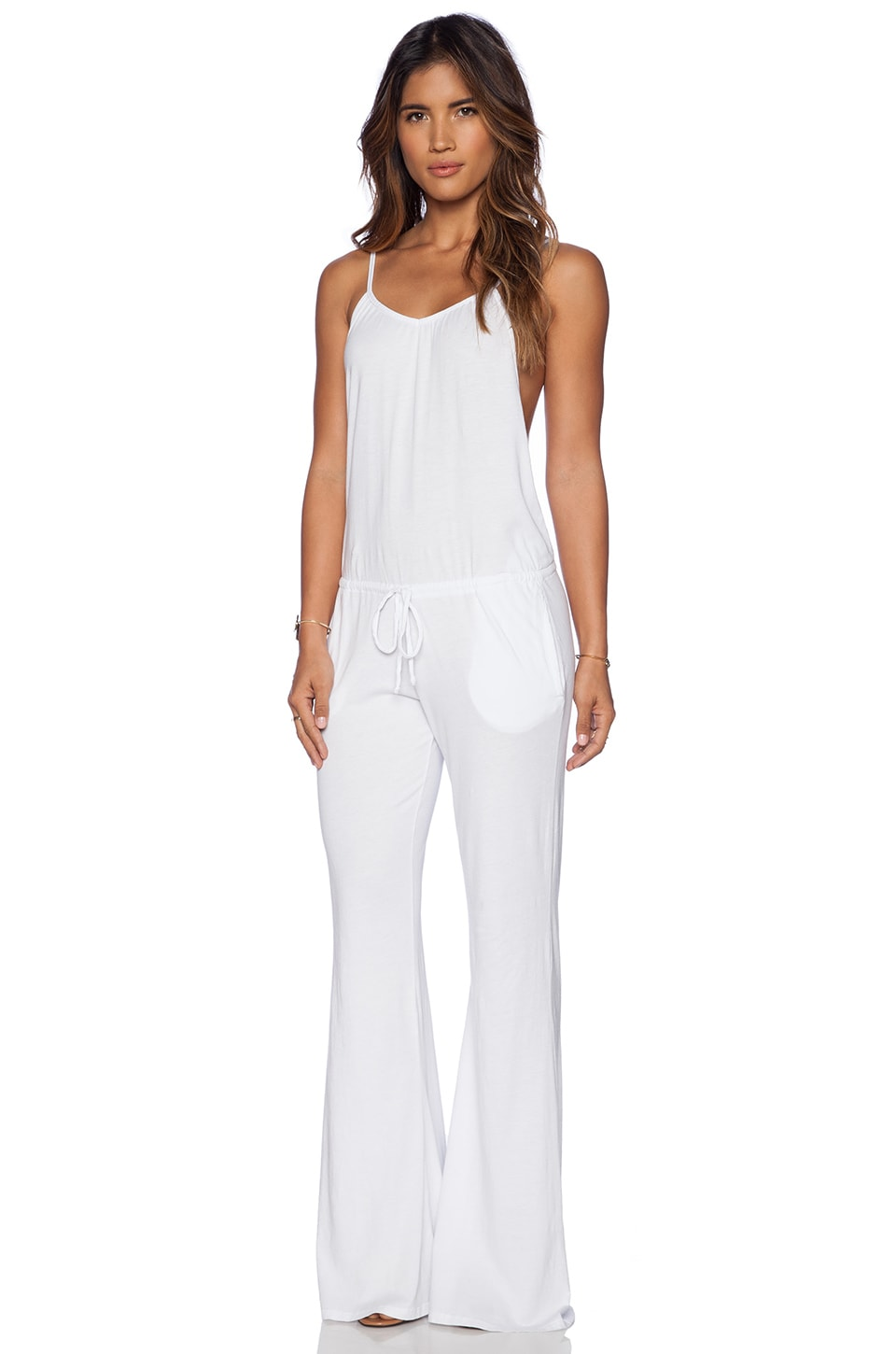 Bobi Modal Jersey Wide Leg Jumpsuit in White