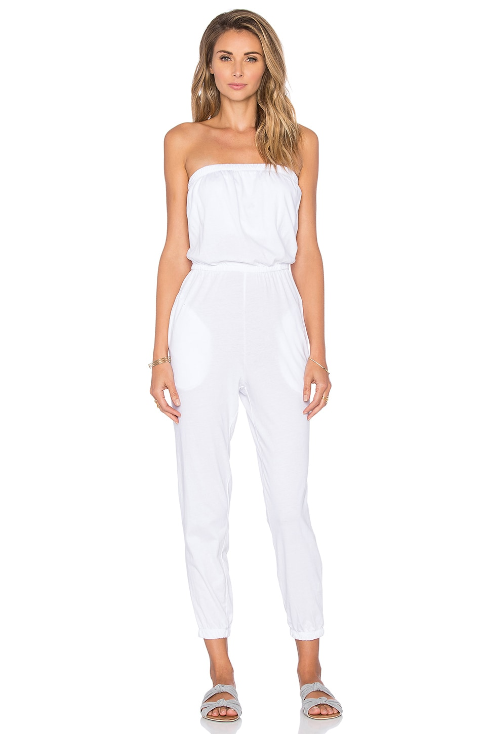 Bobi Supreme Jersey Strapless Jumpsuit in White