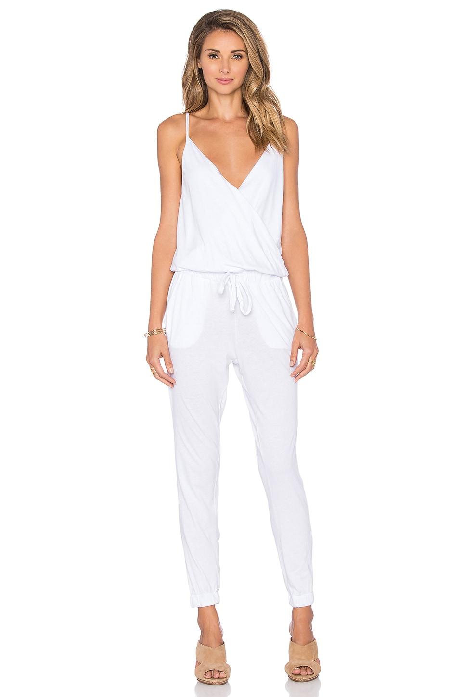 Bobi Supreme Jersey Surplice Jumpsuit in White