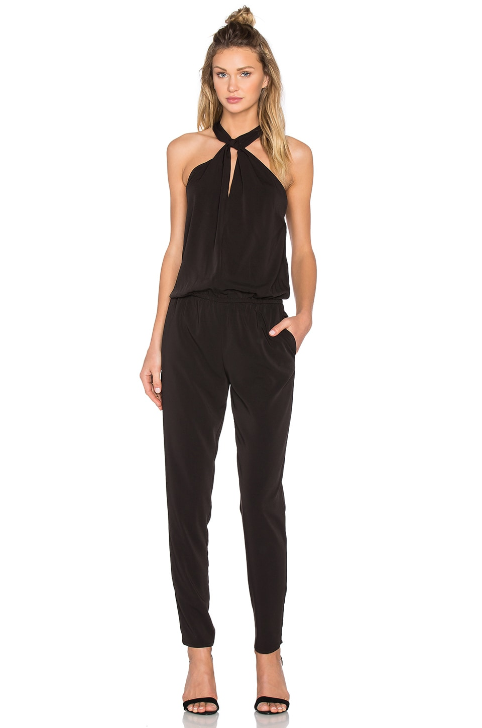 Bobi BLACK Front Keyhole Sleeveless Jumpsuit in Black