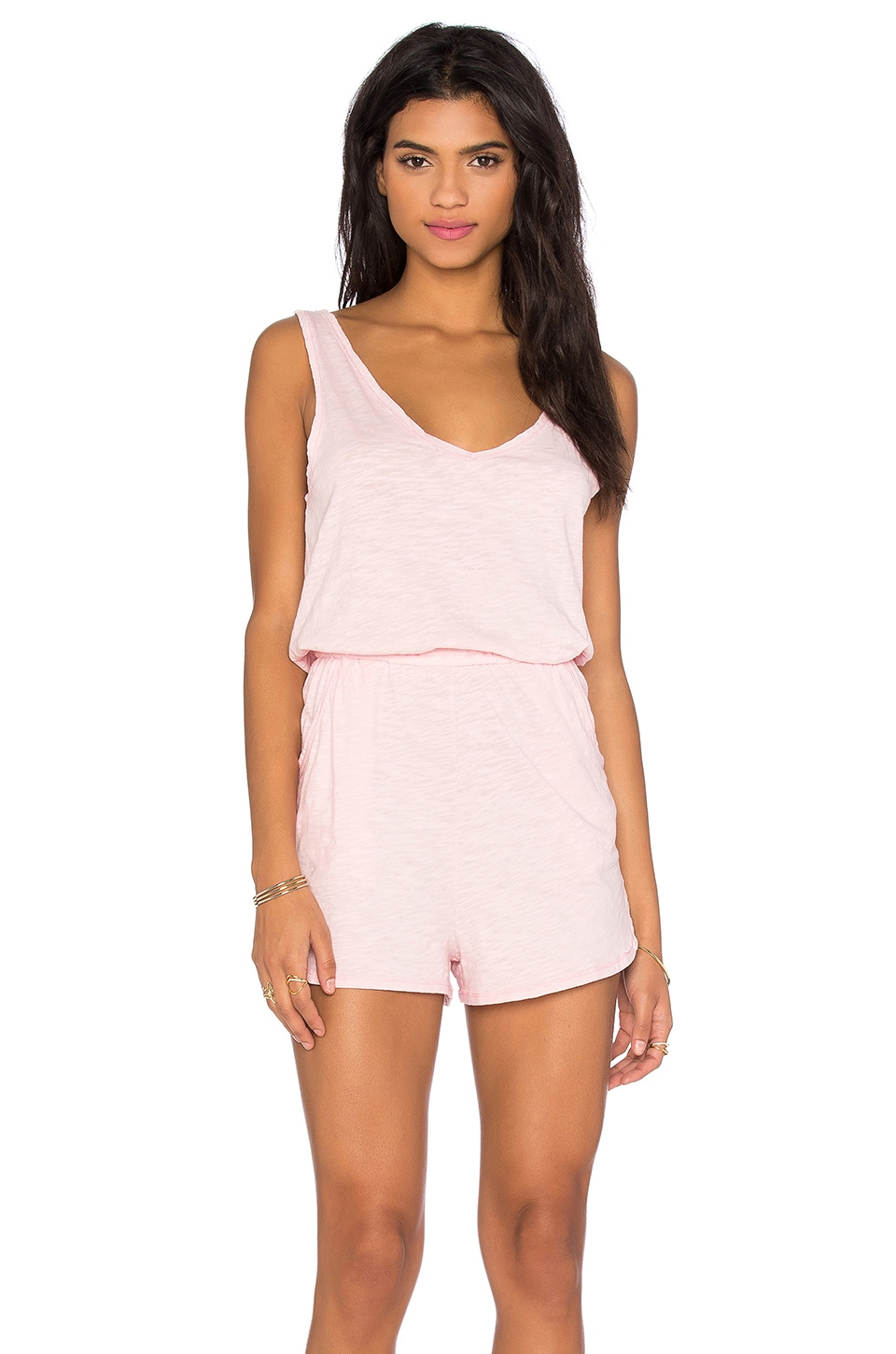 Bobi V Neck Sleeveless Romper in Lipgloss