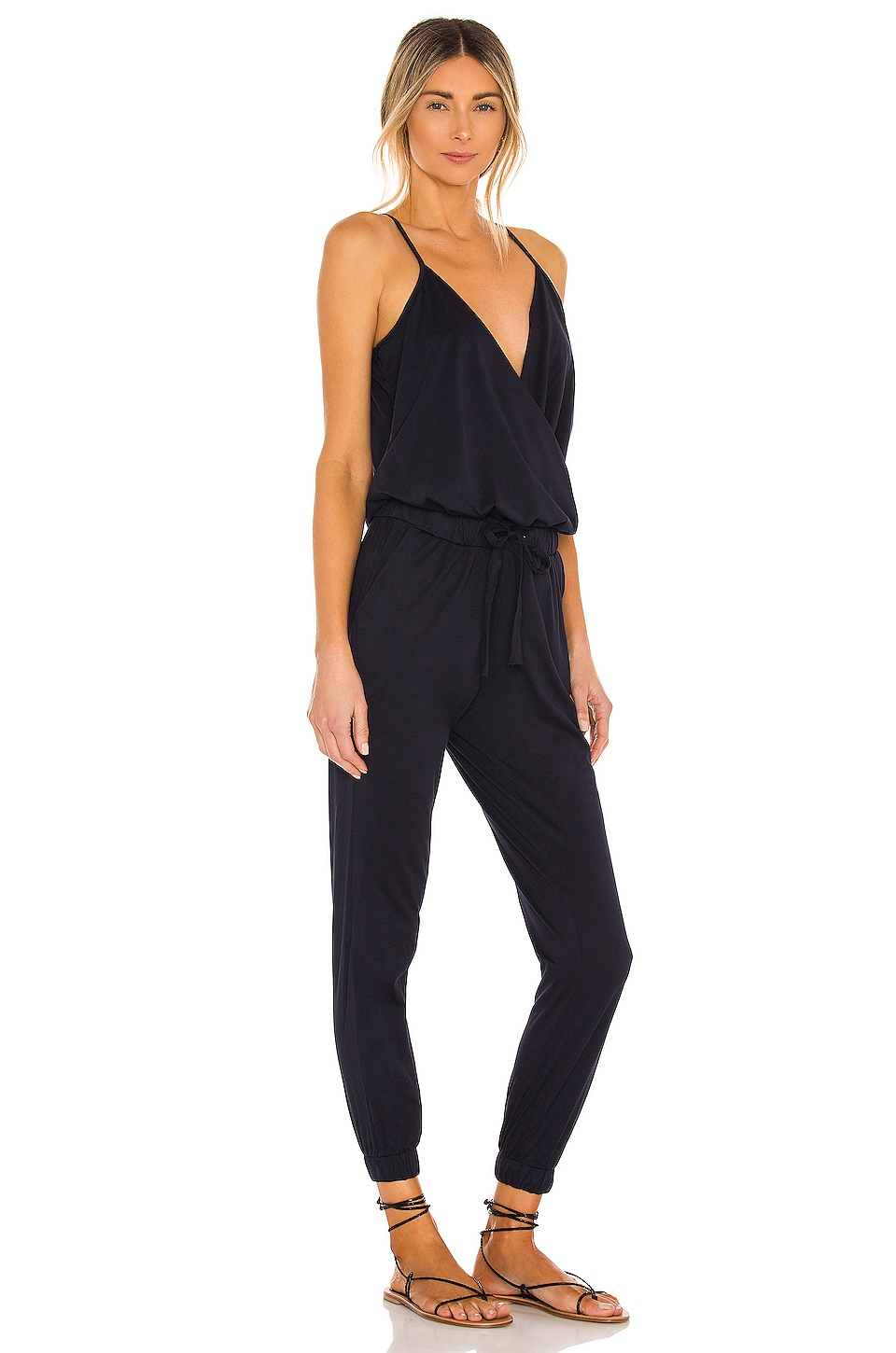 Supreme Jersey Tied Waist V Neck Jumpsuit, view 2, click to view large image.