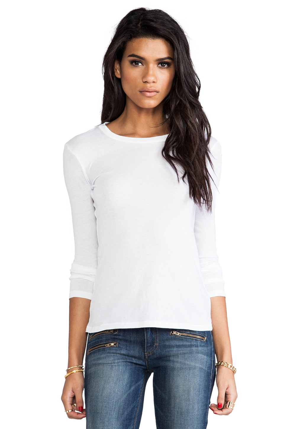 Bobi Light Weight Jersey Long Sleeve in White