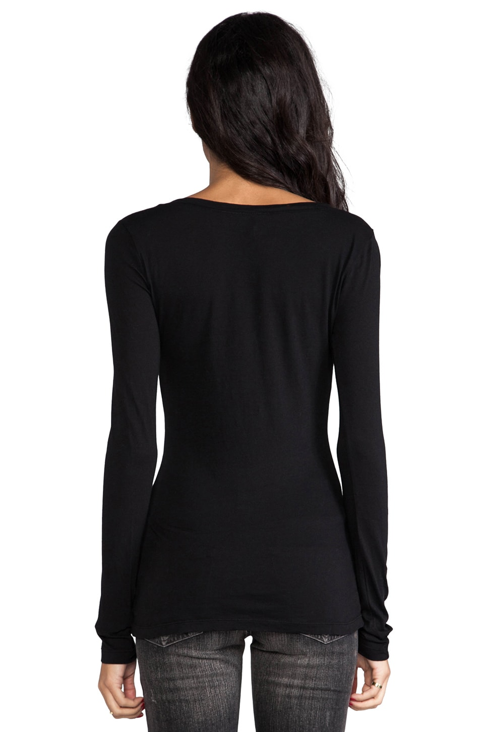 Bobi Light Weight Jersey V Neck Long Sleeve in Black