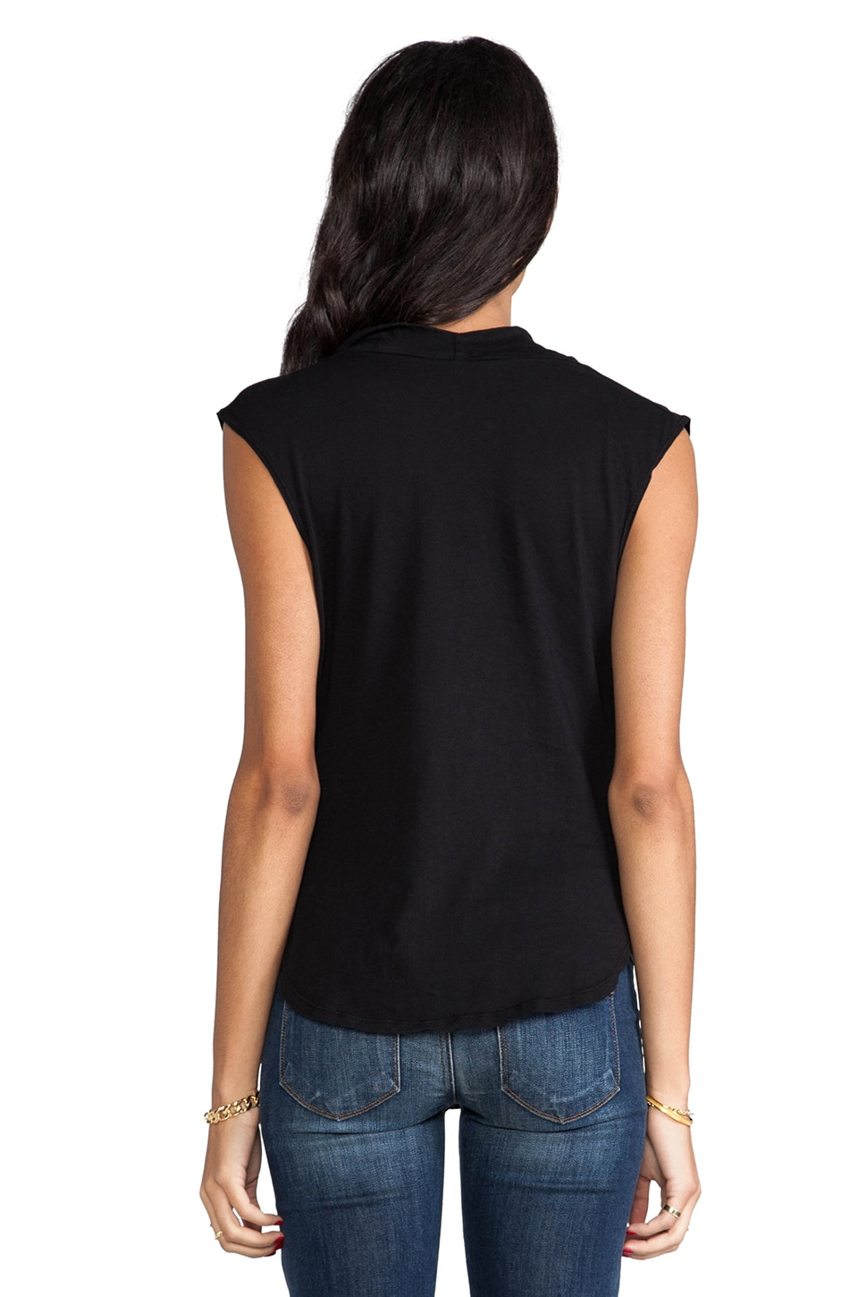 Bobi Light Weight Jersey Drape Neck Tank in Black