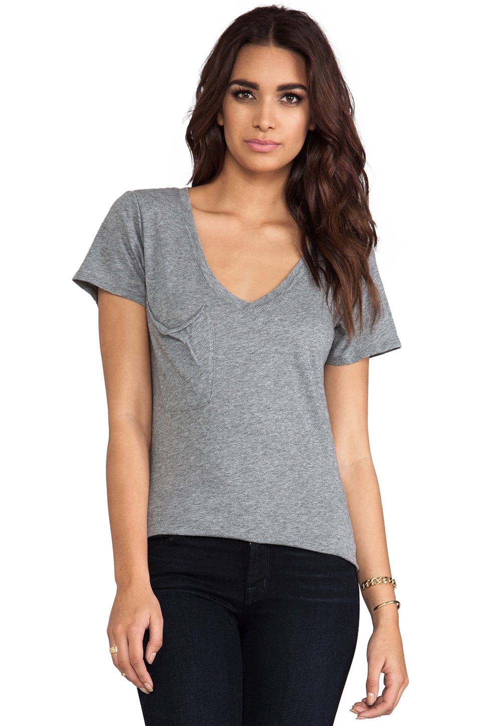 Bobi Light Weight Jersey V Neck Tee in Thunder