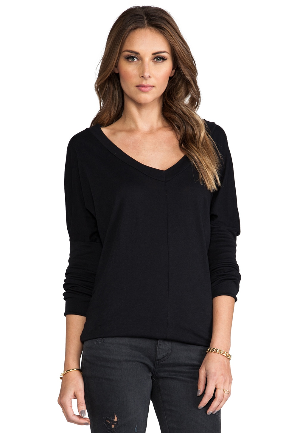 Bobi Long Sleeve Jersey V-Neck en Noir