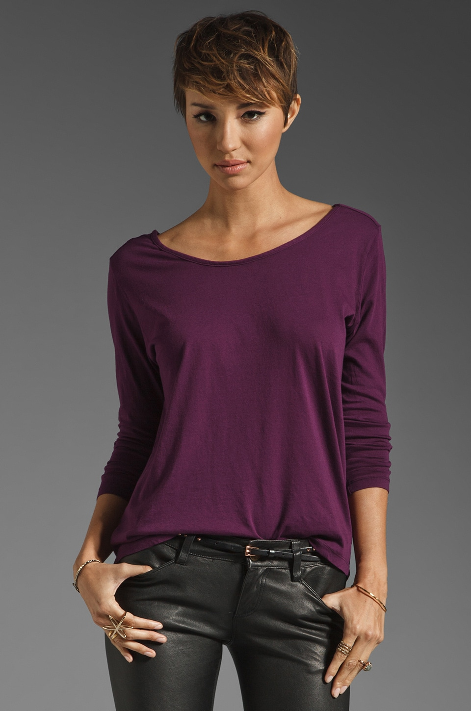 Bobi Light Weight Jersey Cut Out Top in Jam