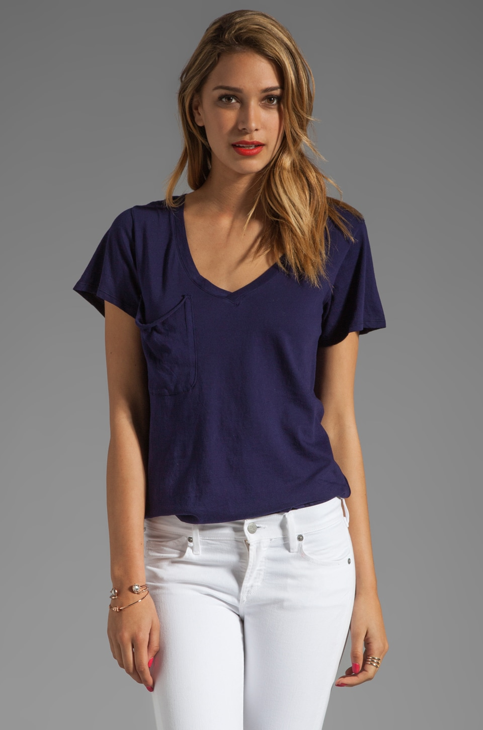 Bobi Light Weight Jersey V Pocket Tee in Yacht