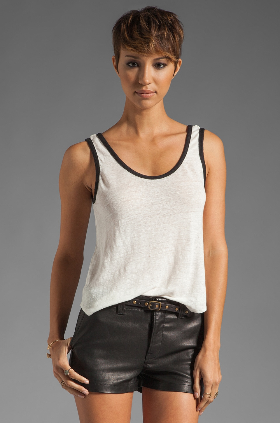 Bobi Linen Colorblock Tank in Light/Black