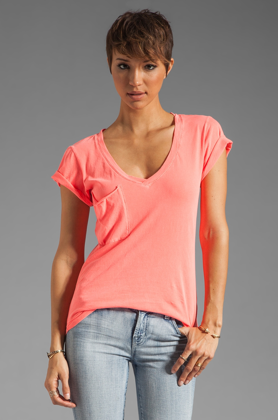 Bobi Light Weight Jersey V Pocket Tee in Neon Coral