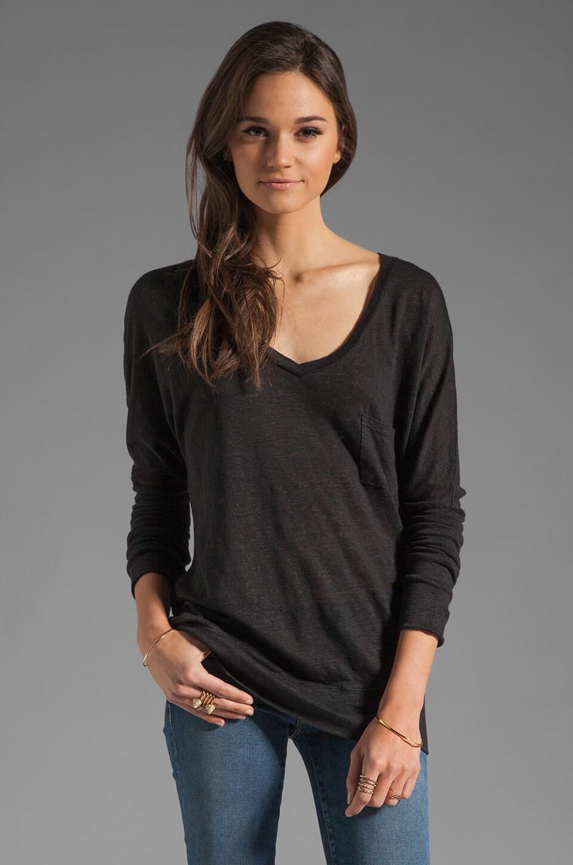 Bobi Linen Long Sleeve Dolman in Black
