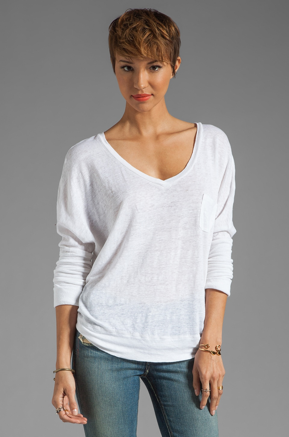 Bobi Linen Long Sleeve Dolman in White