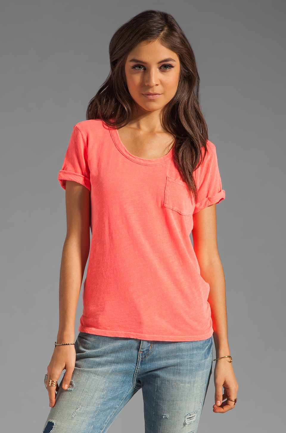 Bobi Cotton Slub Pocket Tee in Neon Coral