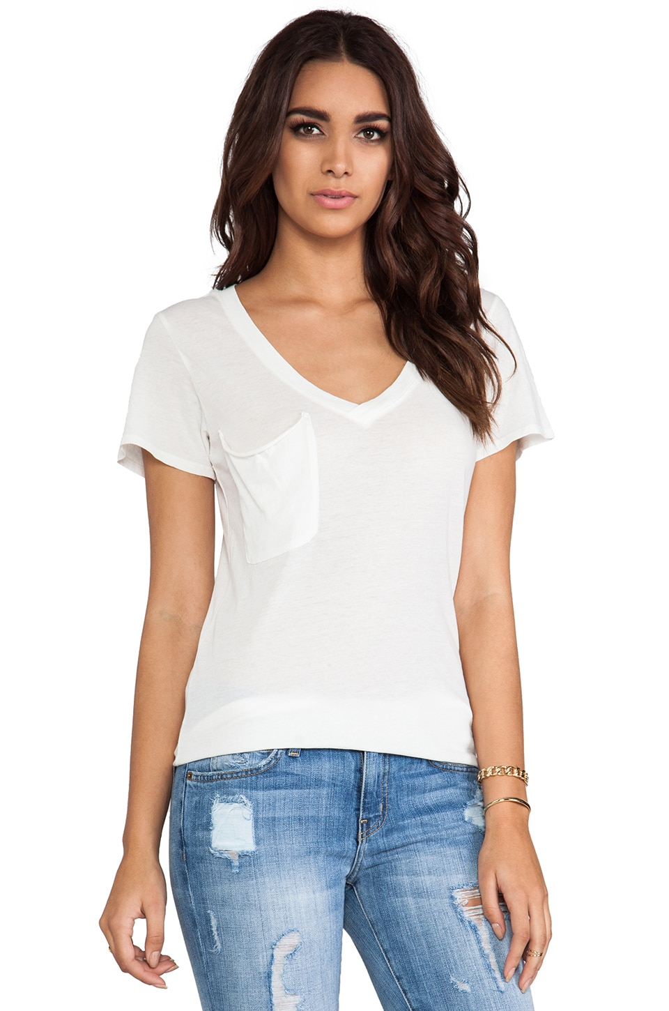 Bobi Light Weight Jersey V Neck Pocket Tee in Light