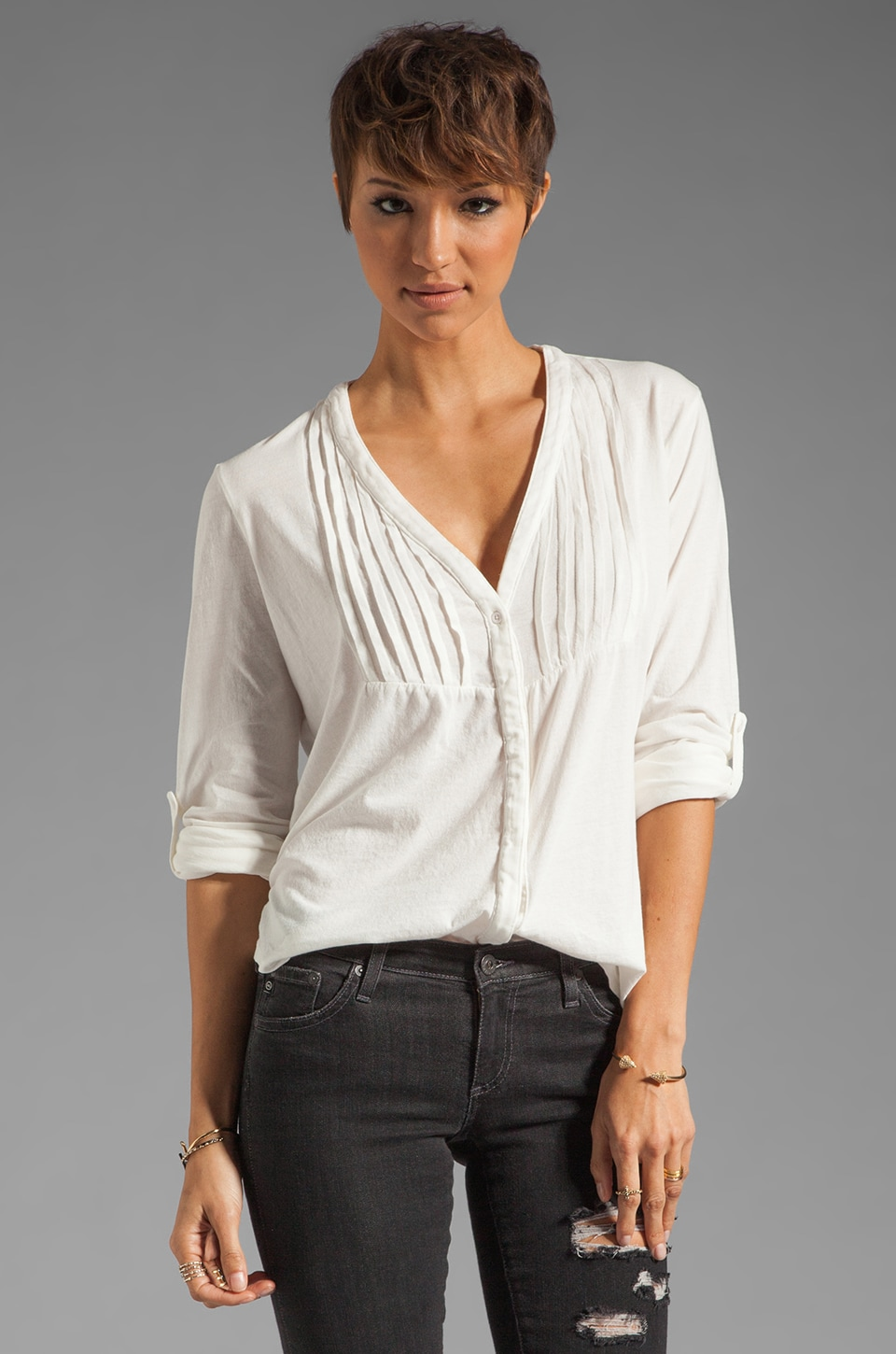 Bobi Light Weight Jersey Pleat Top in Light