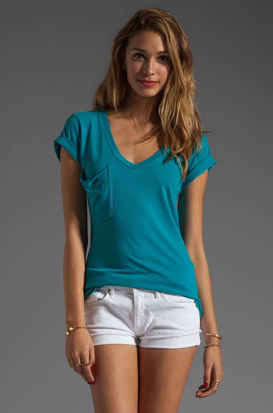 Bobi Lightweight Jersey Short Sleeve Deep V in Wave
