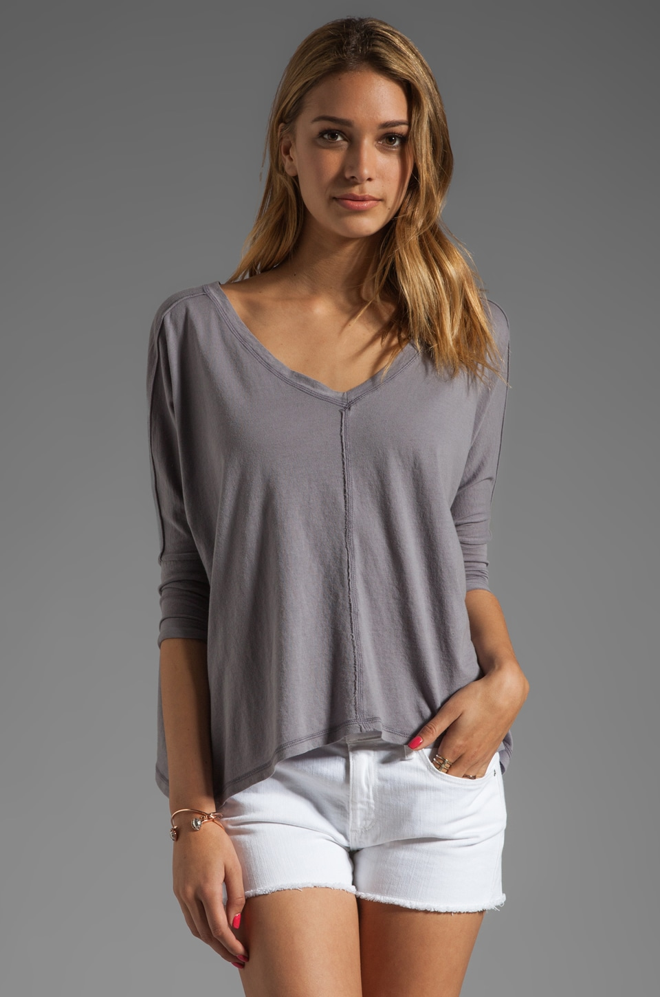Bobi Lightweight Jersey Dolman Top in Pavement