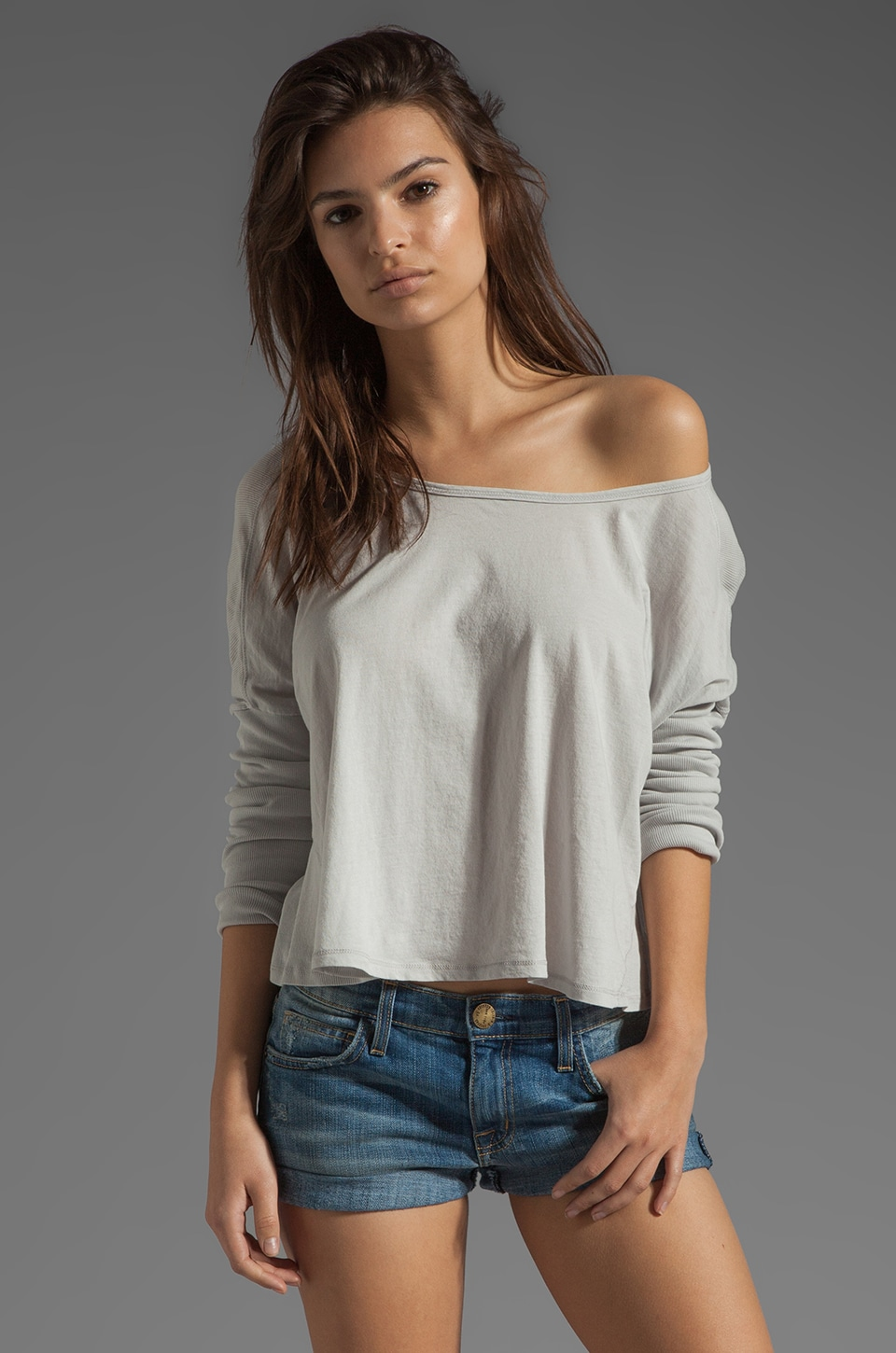 Bobi Lightweight Jersey Long Sleeve Scoop Neck in Clean Grey