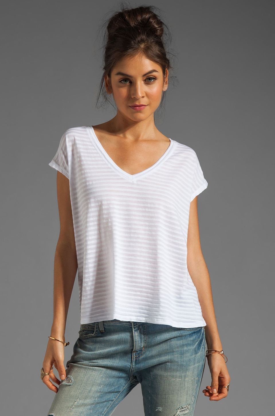 Bobi Skinny Tonal Stripe Tee in White