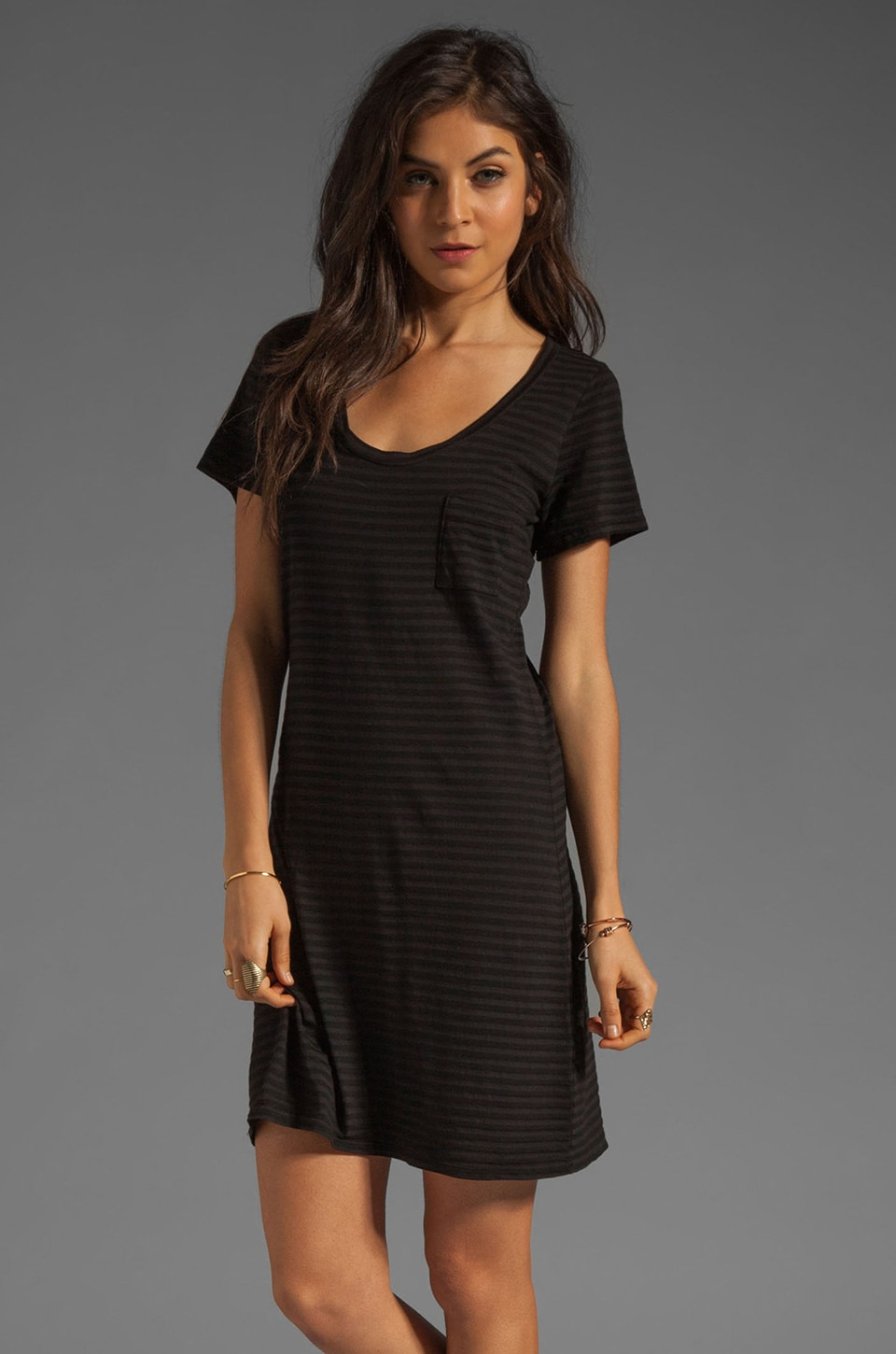 Bobi Skinny Tonal Stripe Pocket Tunic in Black