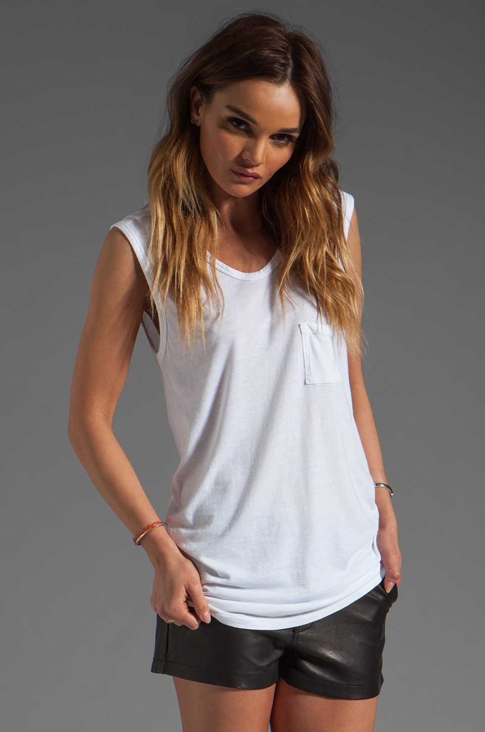 Bobi Slub Pocket Tank in White
