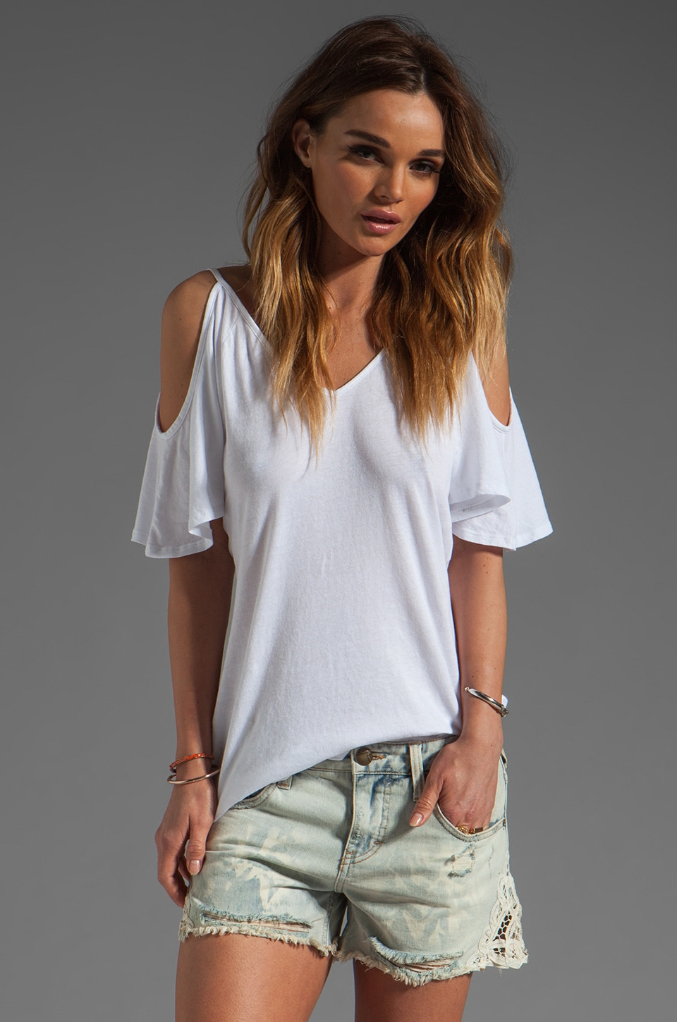 Bobi Lightweight Jersey Cold Shoulder Top in White