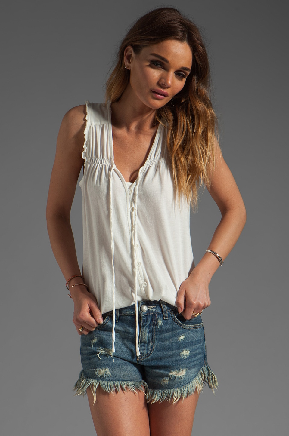 Bobi Lightweight Jersey Ruffle Tank in Light