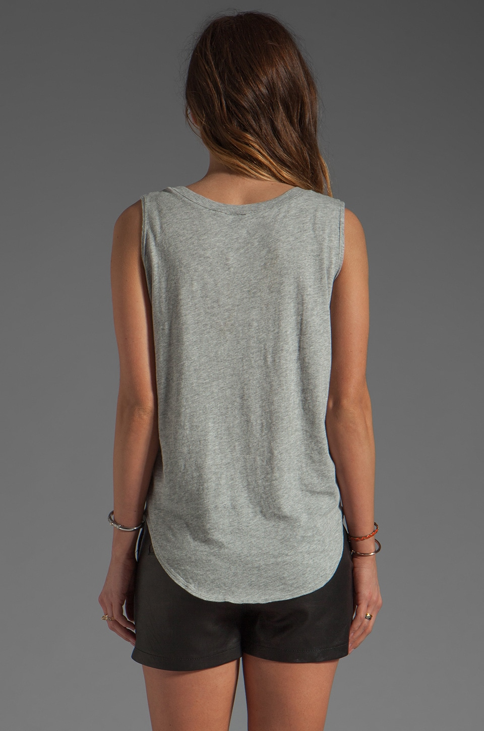 Bobi Lightweight Jersey Rib Trim Tank in Heather Grey