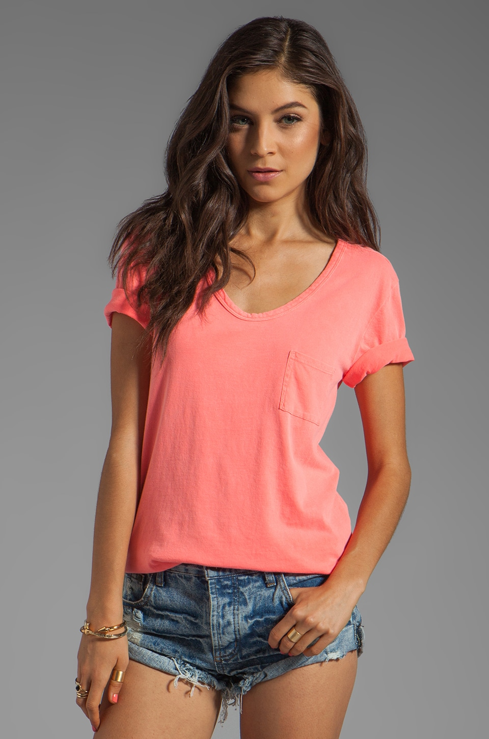 Bobi Lightweight Jersey Scoop Neck Tee in Neon Coral