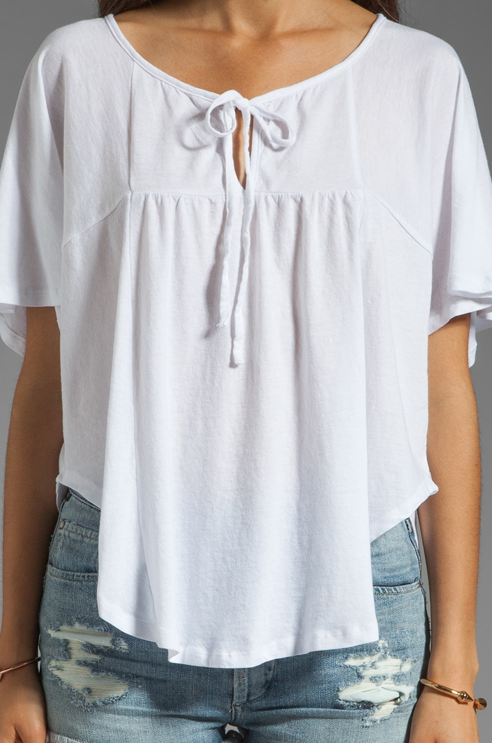 Bobi Lightweight Jersey Flutter Sleeve Top in White