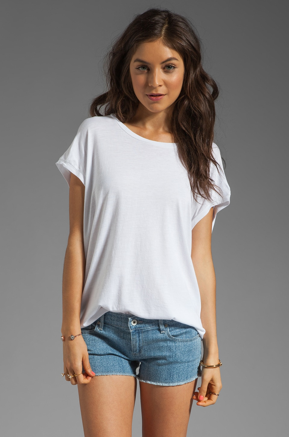 Bobi Slub Cap Sleeve Tee in White