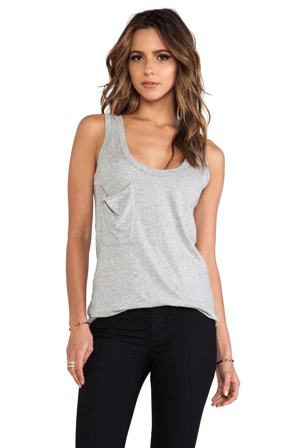 Bobi Light Weight Jersey Pocket Tank in Heather Grey
