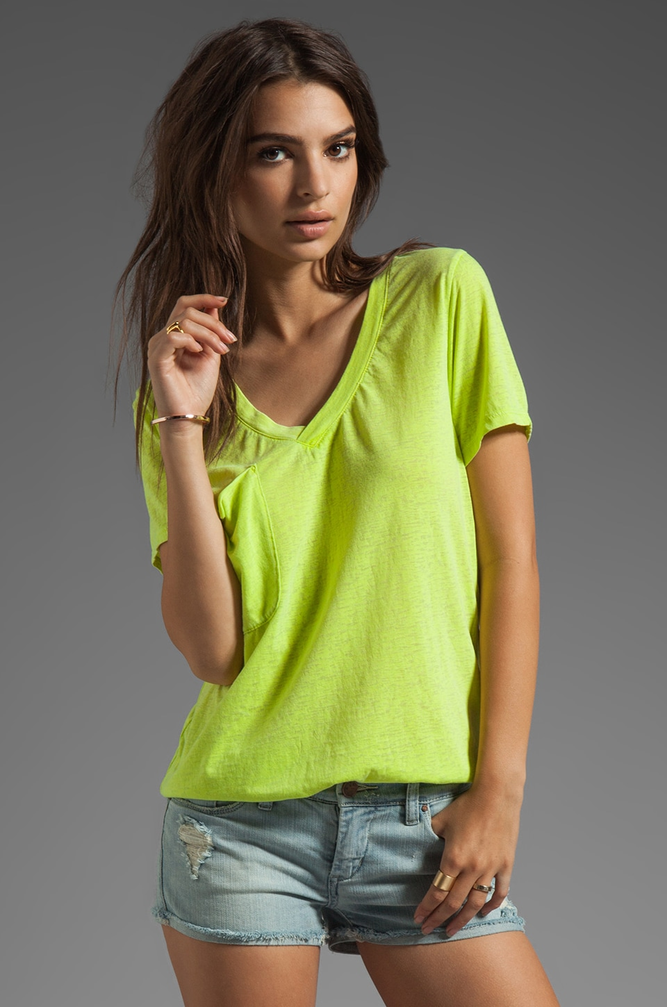 Bobi Burnout Pocket Tee in Yellowtail
