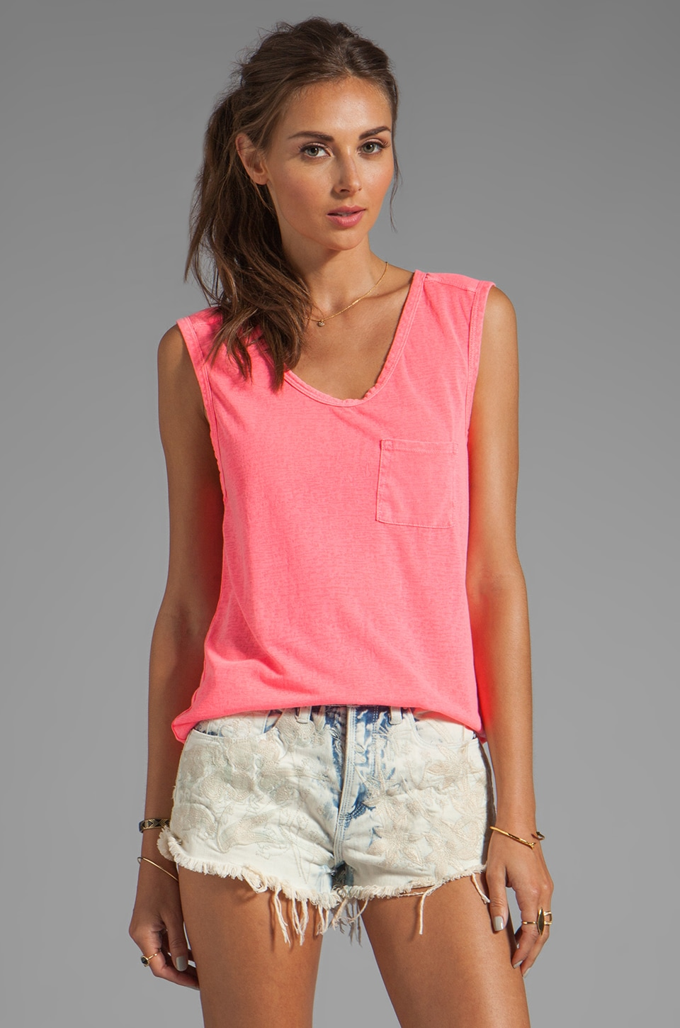 Bobi Burnout Pocket Tank in Sweettart