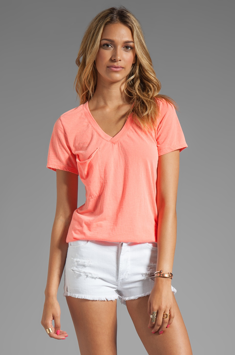 Bobi Burnout Pocket Tee in Neon Coral