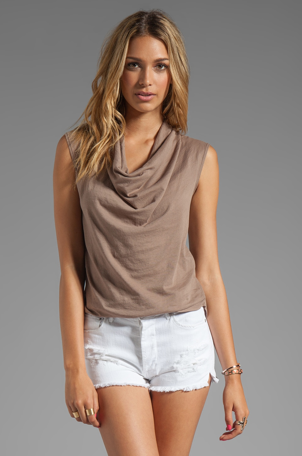 Bobi Light Weight Jersey Cowl Tank in Java