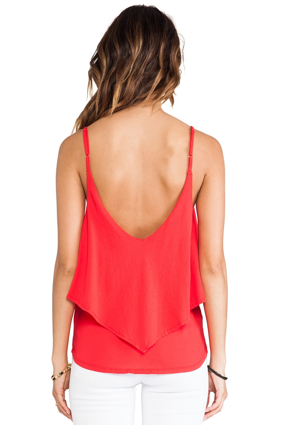Bobi Light Weight Jersey Ruffle Tank in Bali
